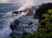 COulée de lave dans la mer Fonds d'écran