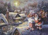 Père Noël sur le toit Fonds d'écran
