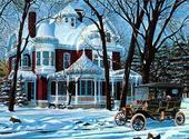 Maison recouverte de neige Fonds d'écran