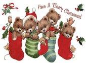 Carte de voeux de Noël avec oursons Fonds d'écran