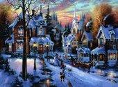 Maisons sous la neige Fonds d'écran